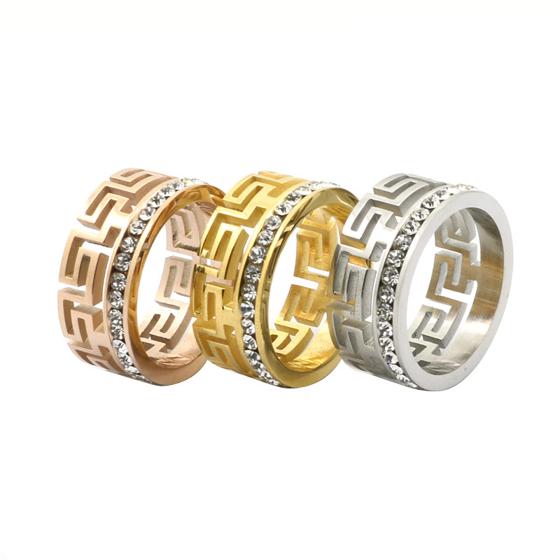 New Accessories Jewelry Hollow Ring Gold Plated Greek Key