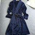 Осень новый Стиль Длинные рукава Район шелковый женщин Сексуальное одеяние Халаты v-типа лацкан пижамы Домашней одежды