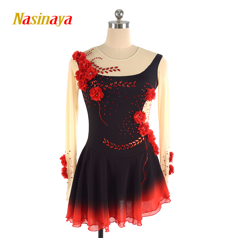 Nasinaya Figure Skating Dress Customized Competition Ice Skating Skirt For Girl Women Kids Patinaje Performance Black Red