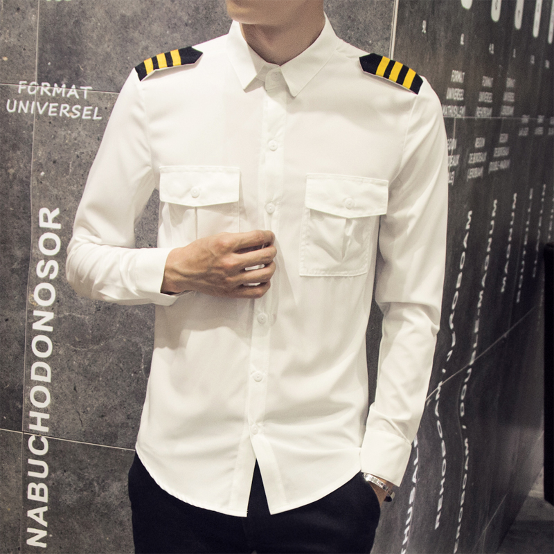 Vetement Homme Fashion 2019 Spring British Style White Men Shirt Hot Sale Slim Double Pocket Long Sleeve Steward Shirts Mens