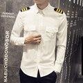 Vetement Homme Moda 2016 del Resorte del Estilo Británico Camisa Blanca De Los Hombres Venta Caliente Delgado Mayordomo Doble Bolsillo de Manga Larga Camisas Para Hombre