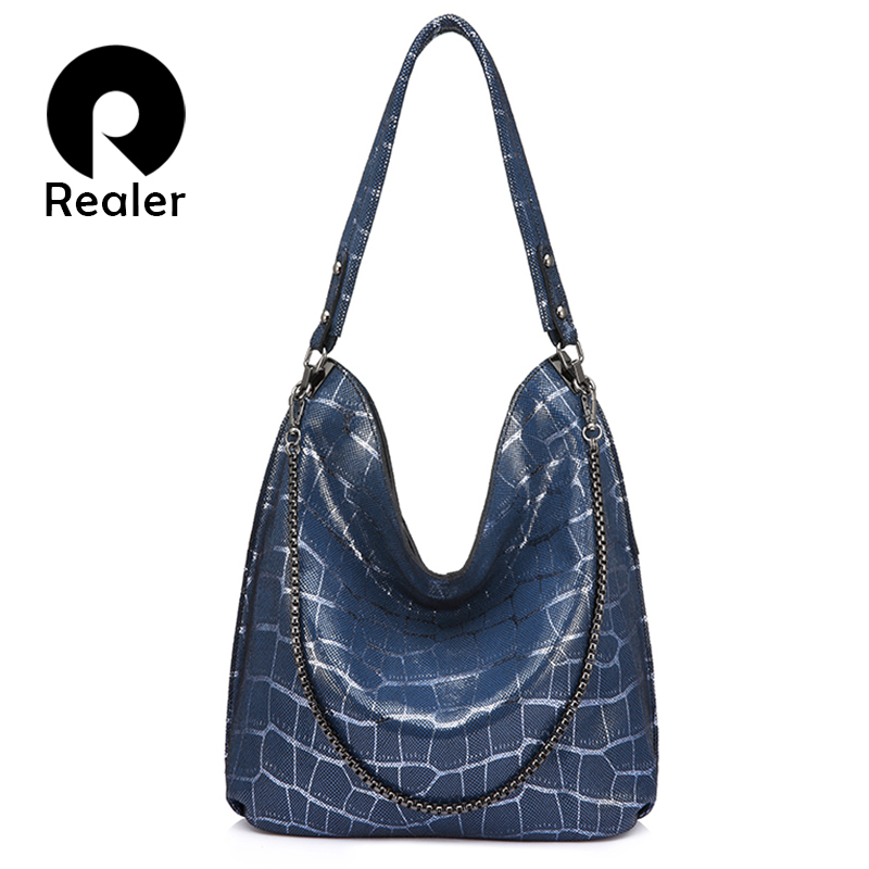 Realer Handbags Women Genuine Leather Fashion Shoulder Bags High Quality For Ladies Hobos Big Capacity Tote Bags Female Chain