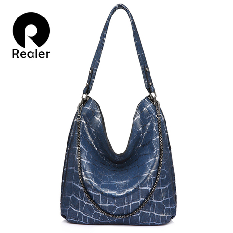 Realer handbags women genuine leather fashion shoulder bags high quality for Ladies Hobos big capacity Tote bags female chain Pakistan