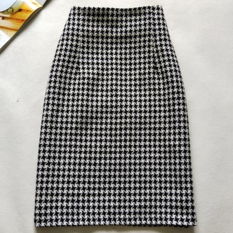 New 2019 Autumn Winter Skirts Women High Waist Woolen Skirt office lady package hip Houndstooth Skirt