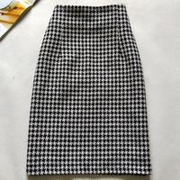 New 2019 Autumn Winter Skirts Women High Waist Woolen Skirt office lady package hip Houndstooth Skirt