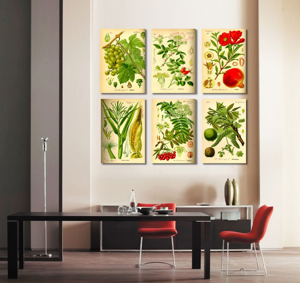 6 Pieces Combinated Canvas Wall Art Modern Fruits Paintings Large Picture  For Dining Room Kitchen Set