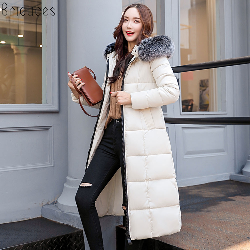 Brieuces Winter jacket women hot 2018 new lady   parkas   long female fur hooded thick high quality warm winter coat women outwear