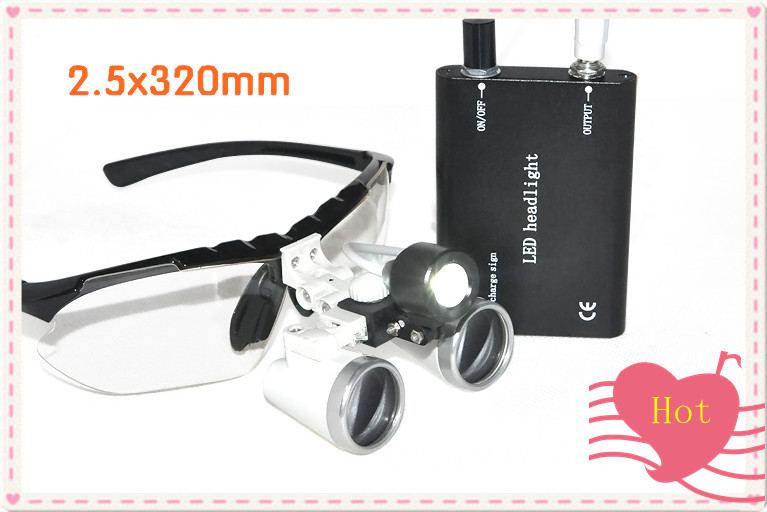 Portable 2.5X320mm Black Dentist Dental Surgical Medical Binocular Loupes Optical Glass with  LED Head Light Lamp + Black Case red free shipping new 2 5x420 magnifier dentist dental surgical binocular loupes optical and portable led head light lamp 2015 a