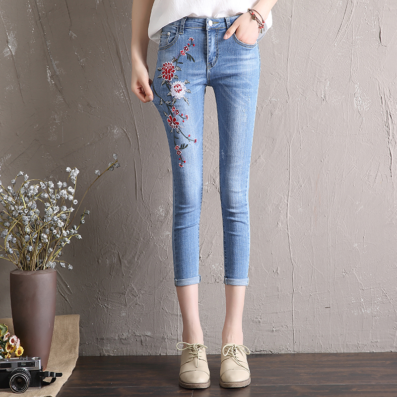 Stretch Floral Embroidery Jeans Ladies Mid Waist Skinny Denim Pencil Pants For Women Sexy Hip Lift Jeans Femme Gray L986 2017 ankle length jeans for women skinny denim jeans femme stretch ladies jeans slim hole mid waist pencil pants for female
