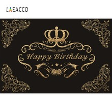 Laeacco Photo Backdrop Gold Crown Flower Happy Baby Birthday Party Banner Portrait Photography Background Photocall Studio