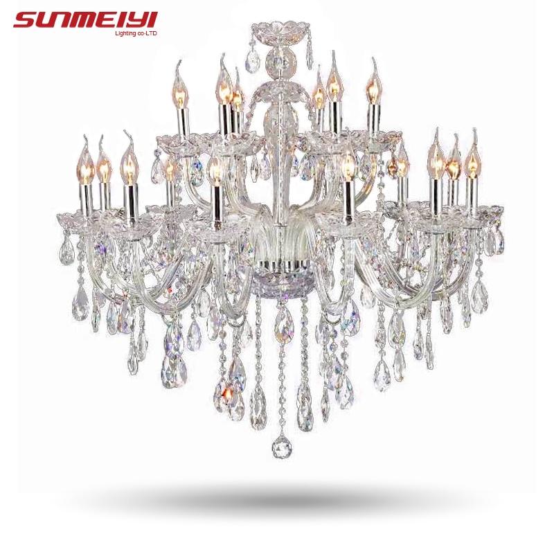 Candelabro de cristal de lujo grande sala de estar lustre sala de cristal candelabros modernos de 18 brazos lámpara de decoración de boda