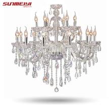 Большая роскошная хрустальная люстра гостиная блеск сала де cristal современный 18 Arm кристалл светильники люстры Свадебные украшения