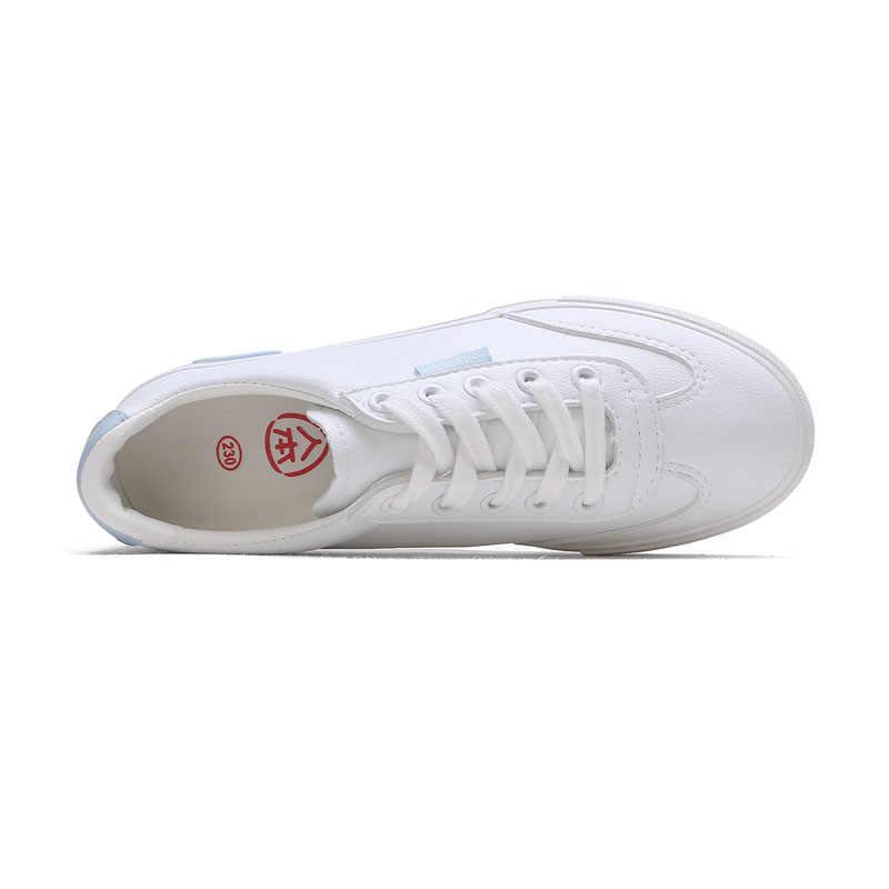 2019 Bahar Yeni Moda Kadın deri ayakkabı Rahat Ince Düz Renk PU deri ayakkabı Kadın Rahat beyaz ayakkabı Ayakkabı Kadın