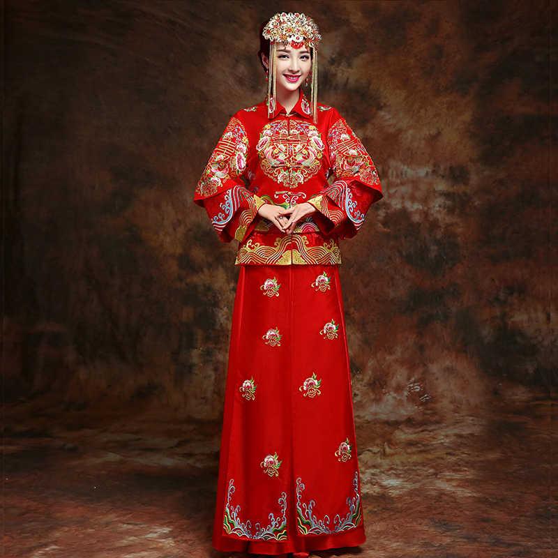 Yeni Kırmızı geleneksel çin düğün elbisesi Qipao Ulusal Kostüm Bayan Yurtdışı Çin Tarzı Gelin Nakış Cheongsam S-XXL