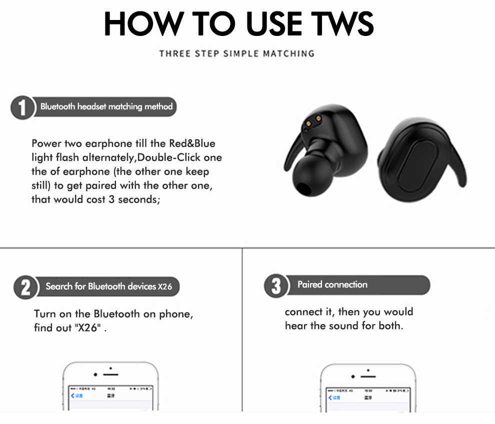 X26 TWS Không Dây Tai Nghe Bluetooth Chụp Tai Tiếng Ồn Cô Lập Tai Nghe Nhét Tai Tai Nghe Di Động Stereo Tai Nghe Siêu Rõ Người Chơi PK X2T TWS