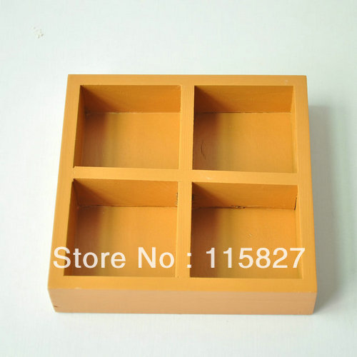 Min order$20(mixed items)2pcs/lot wooden desk organization 4blocks wooden storage tray wooden plate house decoration