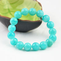 Genuine Natural Green Mozambique Amazonite Round Beads Jewelry Lady Women Stretch Charm Bracelets