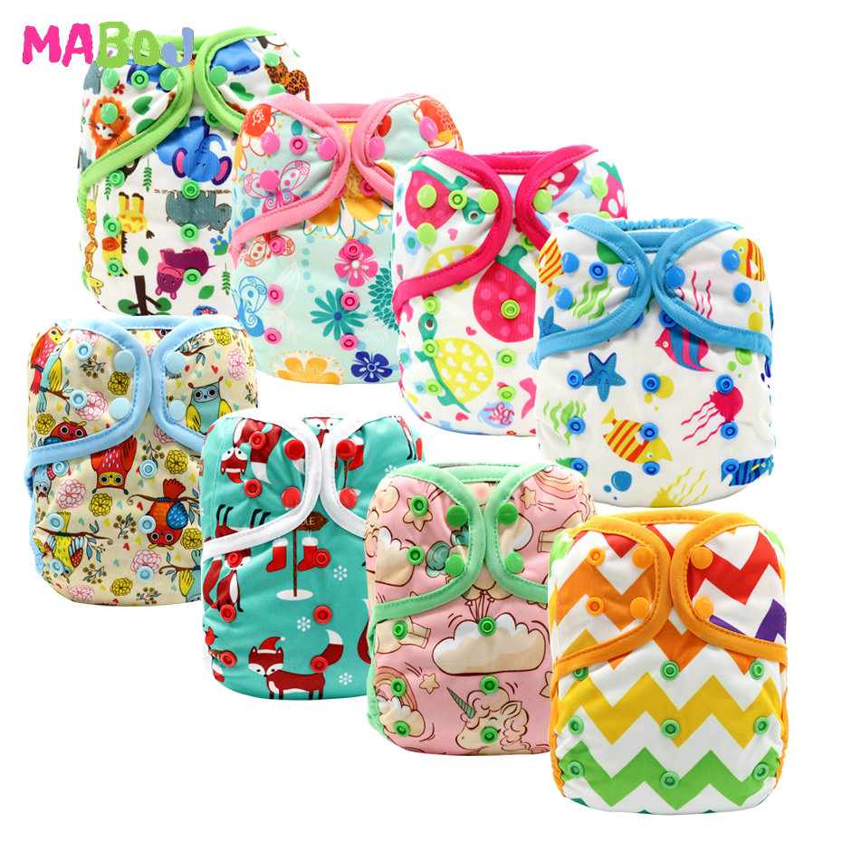 MABOJ Diaper Cover Cloth Diapers Baby Washable Diapers Reusable Nappies One Size Double Gusset Newborn Nappy Cover Dropshipping
