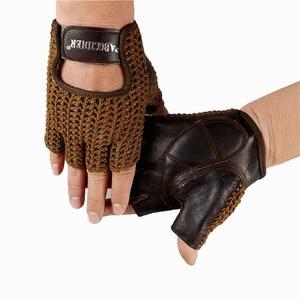 Image 5 - Gants en cuir véritable pour hommes et femmes, demi doigts, accessoires tricotés à la main, de conduite, de sport de plein air, A088