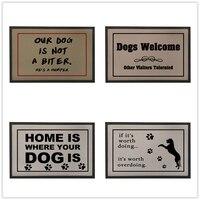 Dog Welcome Door Mats Outdoor,Vintage Doormat for Entrance Door,Rubber Floor Mat for Bathroom,Grey Kitchen Carpet,Kids Room Rug