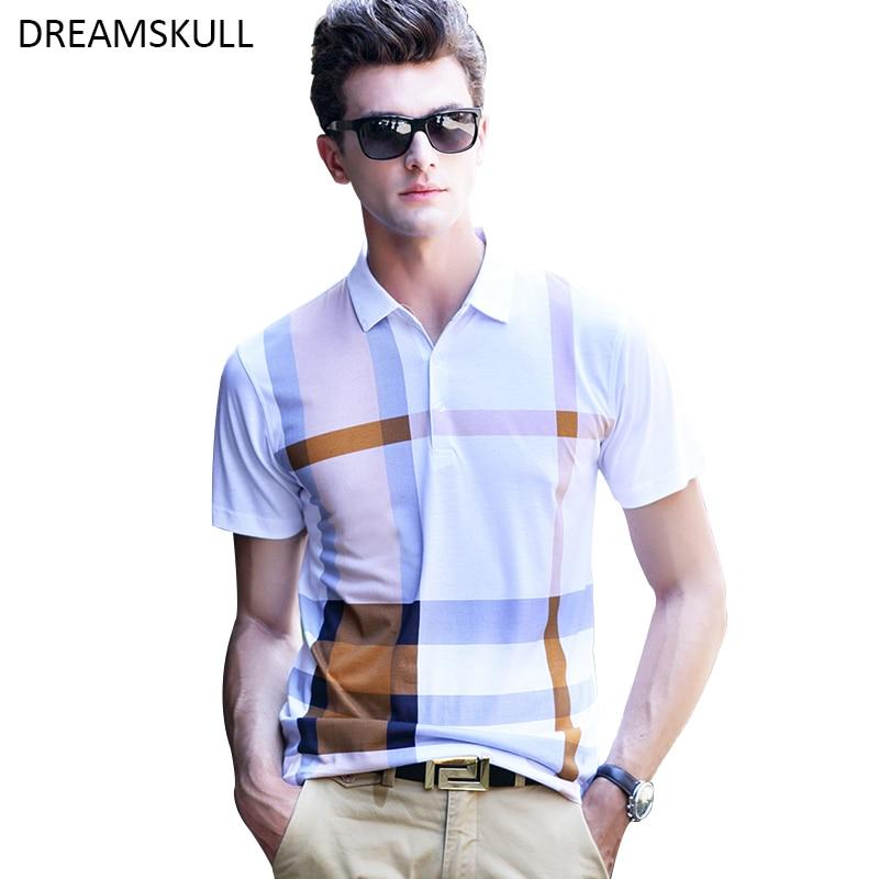 Polo homme décontracté mode homme à manches courtes marque Polo Plaid lisse Camisa Polo Masculina homme Polo chemise