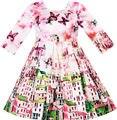 Sunny Fashion платья для девочек новогодние костюмы Атласная Шелк Бабочка город Здание Посмотреть Розовый