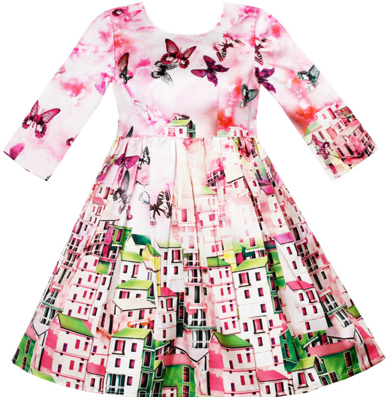 Sunny Fashion Girls Dress Satin Silk Butterfly City Building View Pink 2017 Summer Princess Wedding Party