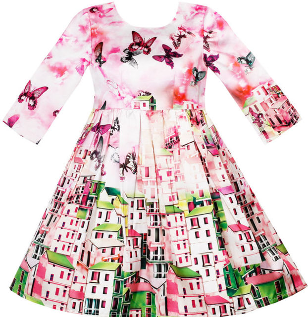 Sunny Fashion Girls Dress Satin Silk Butterfly City Building View Pink 2017 Summer Princess Wedding Party Dresses Size 4-10