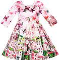 Sunny fashion girls vestido de cetim de seda borboleta de construção da cidade vista rosa 2017 verão princesa vestidos de festa de casamento tamanho 4-10