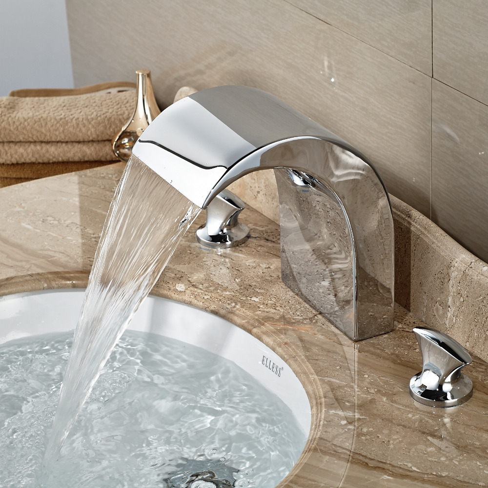 Wholesale And Retail Elegant Deck Mounted Bathroom Basin Faucet Dual Handles Waterfall Spout Mixer Tap Hot Cold Valve wholesale and retail promotion elegant deck mounted shower faucet waterfall tub spout mixer tap diverter faucet