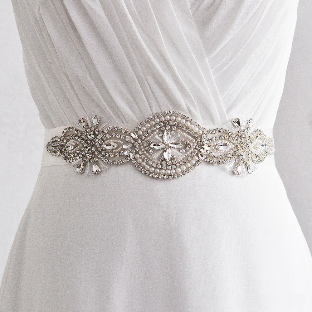 Vintage Elegant Wedding Belt Bridal Sash Bridesmaid Rhinestone Handmade Ribbon