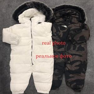 Image 2 - 2020 חורף חדש תינוק ילד ילד ילדה Rompers חורף חליפות הללו גדול פרווה באיכות גבוהה להתחמם עיצוב לילדים מעל סרבלי