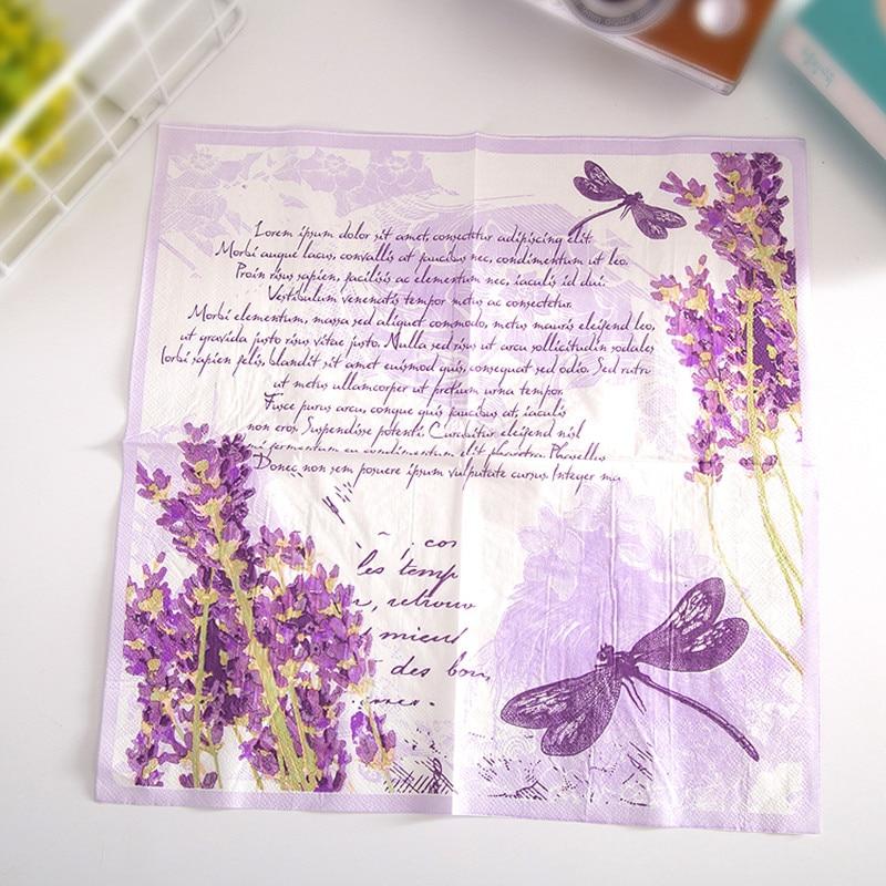 Vintage Lavender Flower Dragonfly Paper Napkins Cafe&Party Tissue Napkins Decoupage Decoration Paper 33cm*33cm 20pcs/pack/lot vintage printed rose flower dragonfly paper napkins for event