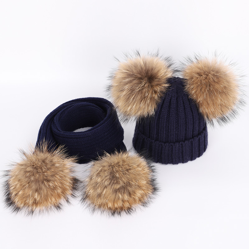 New Cute Children's Raccoon Fur pom poms Knit Beanie Hat Scarf Boy Girl Winter Thicken Hedging Cap Scarves Soft Ski Baby Kids 1