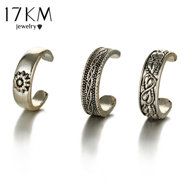 17KM Punk Style Sexy Carved Heart Toe Ring Sets Party Rings for Women Man Boho V