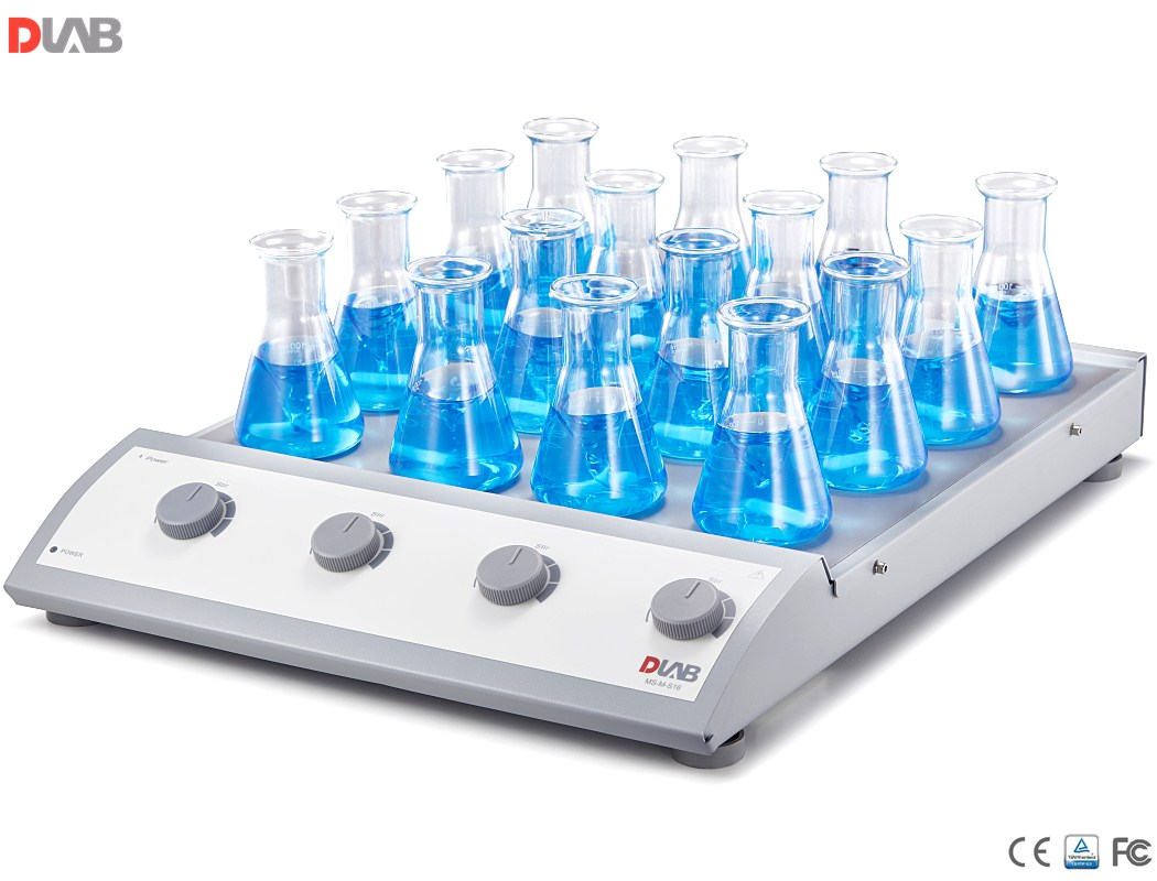 16-Position Magnetic Stirrer, Dlab 16-Channel Classic Magnetic Stirrer, Stainless Steel Plate with silicone cushion, Vol 0.4L*16