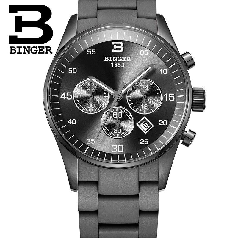 Spordikronograafi käekellad BINGER Steel Men Quartz Watch silikoonrihm 30m veekindel relogio masculino 2017
