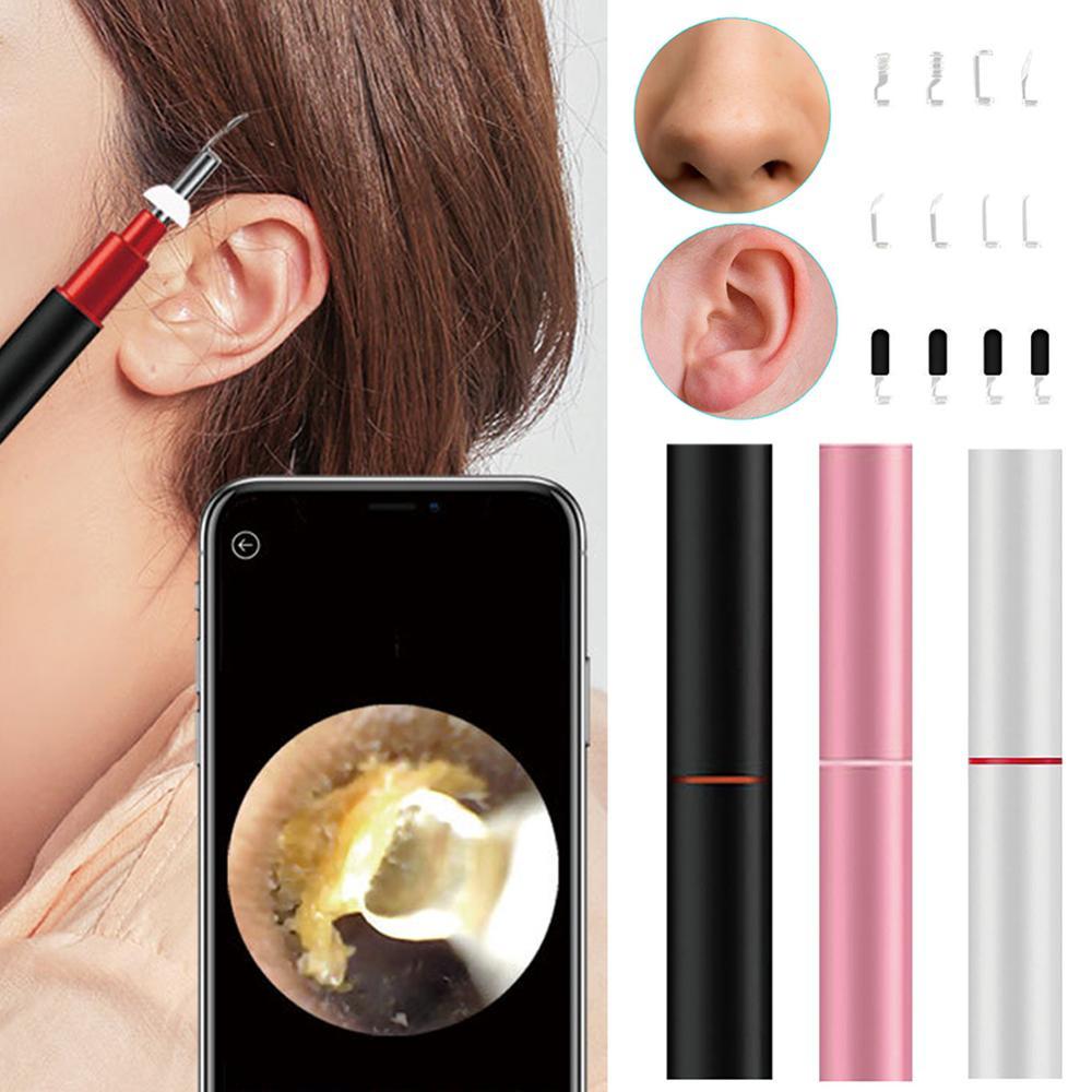 Smart sans fil HD visuel lumière froide oreille Endoscope 3.9mm nettoyage écouteurs WIFI visuel oreillette cuillère Otoscope caméra pour nez d'oreille