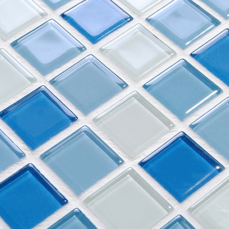 Blue Crystal Gl Mosaic Tiles For Wall Decor Bathroom Shower Square Pattern Kitchen Backsplash Swimming Pool In Stickers From Home