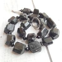 Lii Ji Natural Black Tourmalines raw stone Irrgular shape Huge Necklace for Healing 51cm/20''