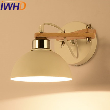IWHD Iron Sconce LED Wall Lamp Modern Creative Wood Angle Adjustable Arm Wall Light Fixtures Home Lighting Bedroom Wandlamp top grade wood handcrafted swing arm light sconce led wall lamp nordic style home decoration lighting e27 black with switch