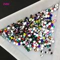 2 мм в диаметре, различные Цвет 3D советы в форме Куба, плоские стразы камень для дизайна ногтей, аксессуары к ювелирным украшениям DIY Украшени...