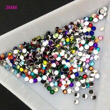 2MM Mix Color 3D  Tips Flat Drill Rhinestones Nail Art DIY Jewelry Decoration 400PCS