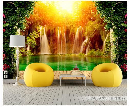Купить с кэшбэком Custom photo wallpaper 3d murals wallpapers Pastoral scenery 3 d waterfall living room background wall papers
