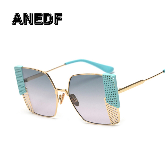 45507f79018 ANEDF Square Sunglasses Women 2018 Brand Designer Black Pink Metal Frame  Sun Glasses for Female Gradient Oculos UV400 Eyewear