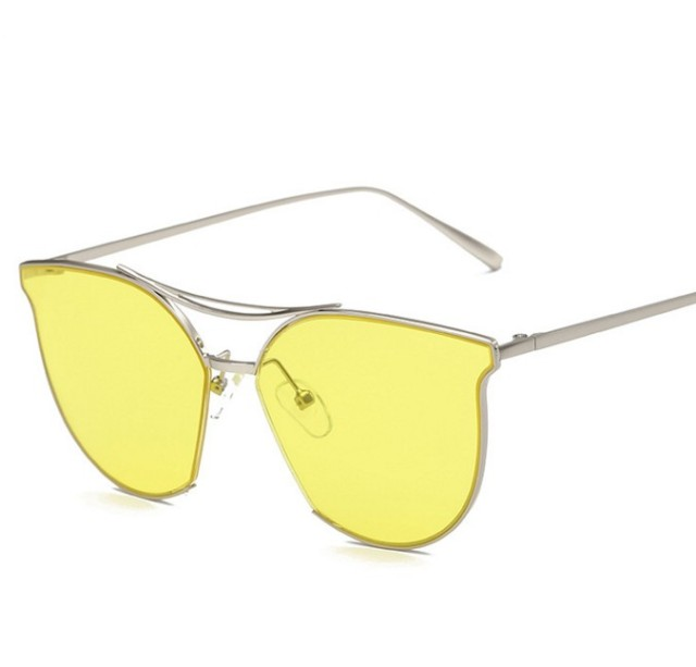 0d517ca8632 M43 New Cat Eye Sunglasses Women 2016 Brand Designer Coating Mirror Clear  Yellow Sun Glasses Fashion Men Cateye Sunglasses UV400