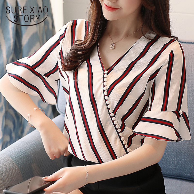 New 2018 Women Shirt Blouse Fashion Striped Chiffon Flare Sleeve Women Tops Shirt Summer ...