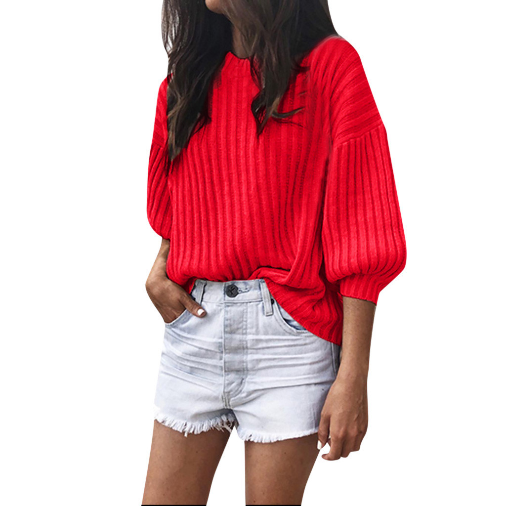 sweters women invierno 2020 women's pullover Solid O-Neck Loose Knitted 3/4 Latern Sleeve Pollover Sweater women swetry damskie