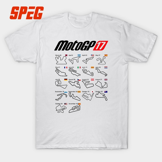 9af5d28b Moto Gp 2017 Calendar All Circuits Men's T Shirt Short Sleeve Tee Pure 100%  Cotton