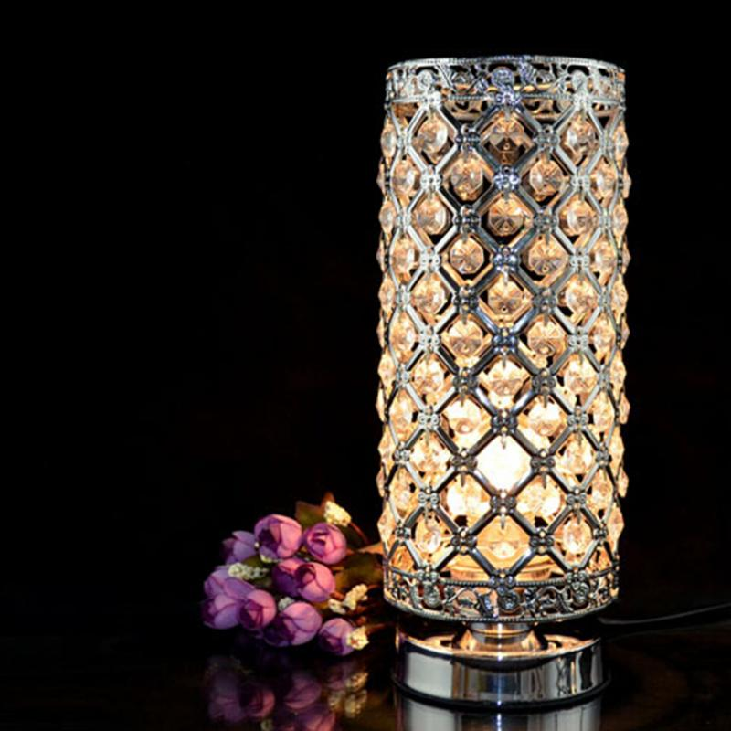 New Fashion Modern Desing Crystal Table Lamp Hotel Home Bedside Lamp Desk Lamp Lights Glass Shade Bedroom Lights Silvery Gold